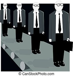 People conveyor - A conveyor belt of replicated people with...