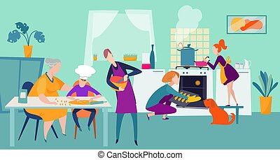 People cooking at home, family together at kitchen happy chef vector illustration. Mother and daughter baking in cooker.