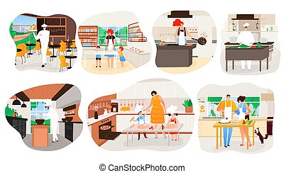 People cooking at home, restaurant kitchen chef cartoon character, vector illustration