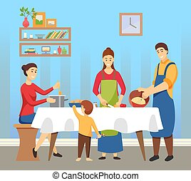 People Cooking Dishes Family Preparing for Holiday