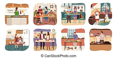 People Cooking Food in Kitchens, Set of Homes