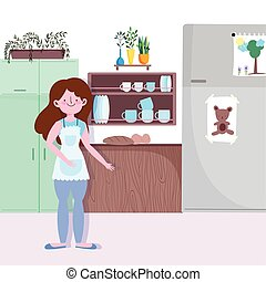 people cooking, girl with baked bread food in the kitchen