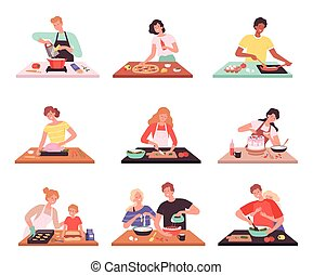 People cooking. Happy smile characters preparing product in kitchen family cuisine catering service vector set
