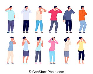 People cover face. Covering eyes, timides shy woman man. Business person worried, isolated flat blinded or shame characters utter vector set