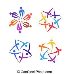 People creative logo set. Community, team, family or network template icons concept. Vector illustration
