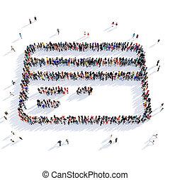 people credit card shape 3d