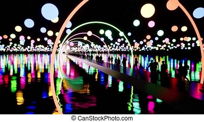 People crossing illuminated bridge at night 3d animation. Men and women black silhouettes walking on pathway with neon arcs. Tourists arriving at futuristic city with realistic lamp light bokeh effect