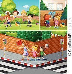People crossing road and hanging out in park illustration