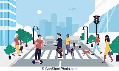 People crossing road vector illustration. Cartoon flat pedestrian character walking on zebra roadway crosswalk at traffic light background