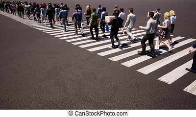 People crosswalk. Busy street. Zebra crossing. Business people. People crowd. Sunny day. Top view.