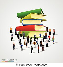 People crowd around book stack