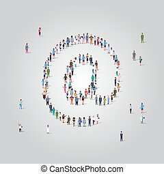 people crowd gathering in email address icon shape social media internet communication concept different occupation employees group standing together full length