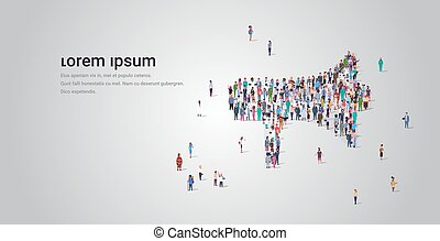 people crowd gathering in loudspeaker megaphone shape social media community announcement concept different occupation employees group standing together full length horizontal copy space