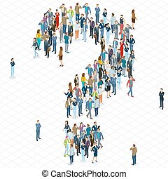 People crowd question mark vector template. Isometric 3d...