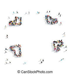 people crowd shape cartoon