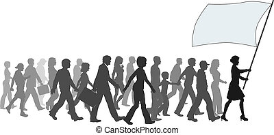 ===People crowd walk follow leader holding flag