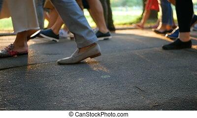 People crowd walking festival