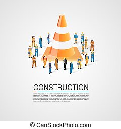 People crowd with traffic cone