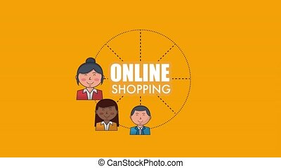 people customer ecommerce online shopping animation hd