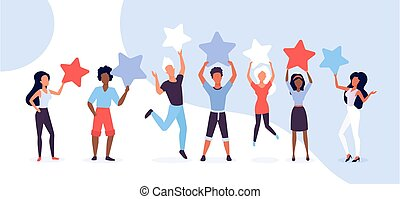 People customer review vector illustration concept, cartoon ...
