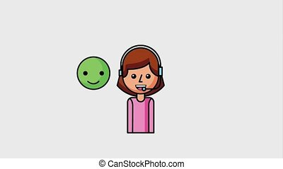 people customer service - operator girl with headphones and...