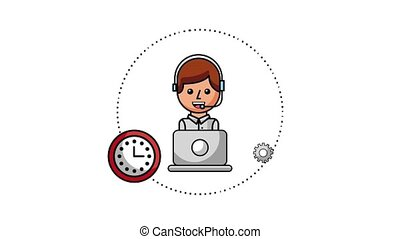 people customer service - operator laptop good bad clock...