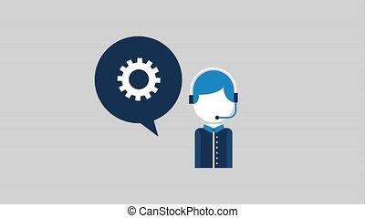 people customer service - operator speech bubble gear supprt...