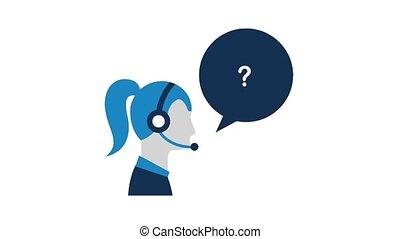 people customer service - profile woman agent headset...