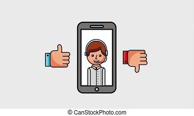 people customer service - smartphone with customer service...