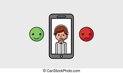 people customer service - smartphone with operator customer...
