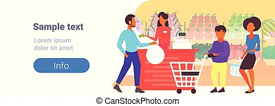 people customers with trolley carts standing line queue to cashier in retail store supermarket big grocery shopping center horizontal banner copy space flat full length