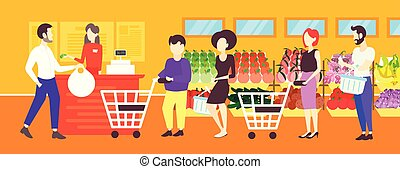 people customers with trolley carts standing line queue to cashier in retail store supermarket interior concept big grocery shopping center horizontal banner flat full length