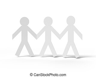 people cut out of paper isolated on a white background