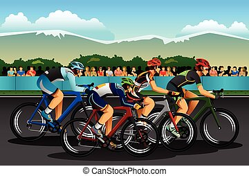 People Cycling in the Competition - A vector illustration of...