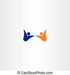 people dance happy vector icon logo