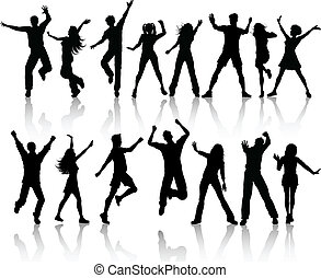 People dancing - A collection of silhouettes of people...
