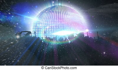 Animation of mirror disco ball with light glowing and moving in hypnotic motion with people dancing at music concert. Singing music entertainment concept digitally generated image.