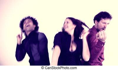 People dancing funky retro style