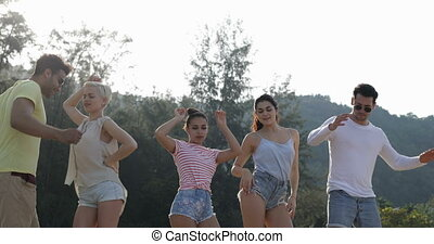 People Dancing In Mountain Park, Happy Friends Mix Race...