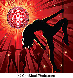 Vector background - design with woman stripping, disco-ball and glitters