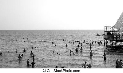 people dancing in the sea at music festival in ukraine