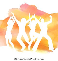People dancing on a watercolor background