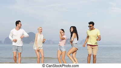 People Dancing On Beach, Happy Friends Mix Race Group ...