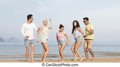 People Dancing On Beach, Happy Friends Mix Race Group...