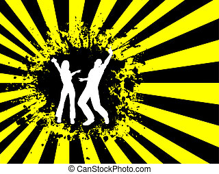 People dancing on grunge background