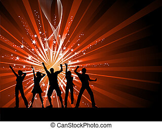People dancing on starburst background - Silhouettes of...