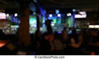 People dancing on the dance floor. Night life. Video is blurry.