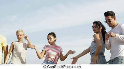 People Dancing Outdoors, Happy Friends Mix Race Group Over...
