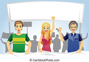 People demonstration - A vector illustration of people ...