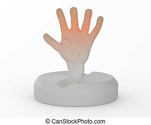 People dependent on drugs help hand from tablet 3d illustration